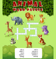 card with crosswordgame for children about animal vector image