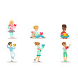 children reading books set cheerful boys and vector image vector image