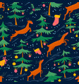 chirstmas seamless pattern with cute deers and vector image vector image