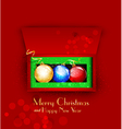 Christmas background with balls and gifts vector image vector image