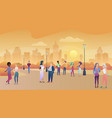 city public park in sunset people communication vector image vector image