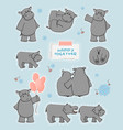 collection gray hippos in different poses vector image vector image