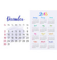 colorful planner 2018 december separately vector image vector image