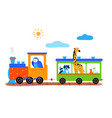 cute animals on a train flat vector image vector image