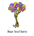 Cute card with doodle colorful tree vector image vector image