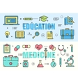Education and Medicine flat thin line design vector image