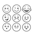 emoticon set sketch engraving vector image