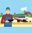 farmer controls autonomous harvester vector image vector image