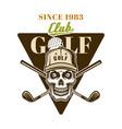 golf emblem badge label logo with skull vector image vector image