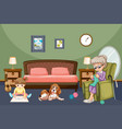 grandmother with kid and dog in room vector image