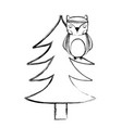 grunge ethnic owl animal in pine tree vector image vector image