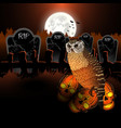 halloween owl and cemetery skull vector image vector image