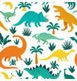 Hand drawn seamless pattern with dinosaurs and