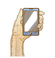 hand holding cellphone vector image