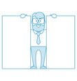 happy man shows two banners vector image vector image