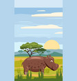hippo cute cartoon style in background savannah vector image