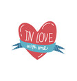 in love with me red heart with ribbon girlish vector image vector image