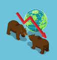 isometric bears fighting with world and falling vector image
