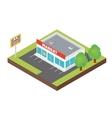 Isometric supermarket building vector image vector image