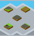 isometric way set of road downward crossroad and vector image vector image