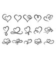 love hearts flourish heart shape flourishes vector image vector image