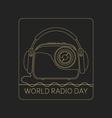 Mono line logo World Radio Day vector image vector image