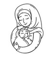 muslim mother holding baby vector image vector image