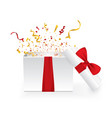 opened 3d realistic gift box with red bow and vector image vector image