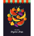 Organic food shop design with fruit vector image vector image