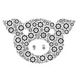 pig head composition of gear vector image