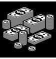 Piles of money on dark vector image vector image