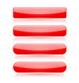 red menu buttons rectangle and oval 3d shiny vector image vector image