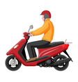 red motor scooter with driver isolated on white vector image vector image