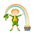 Saint Patricks Day Leprechaun with pot of gold vector image vector image
