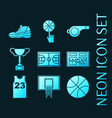 set basketball blue glowing neon icons vector image