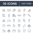 Set Flat Line Icons Fast Food vector image vector image