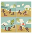 Set icon vacation people on the sea vector image vector image