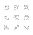 set line icons camping vector image vector image