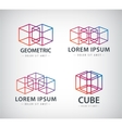 set of cube construction logos icons vector image vector image