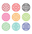 set of round chinese pattern window frame vector image vector image