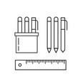 set pens pencils ruler and marker in holder vector image vector image