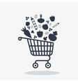 shopping carts icon with vegetables vector image vector image