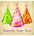 Three party hats text vector image vector image