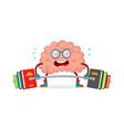 train your brain brain cartoon flat vector image vector image