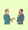 two businessmen talking multi ethnic group vector image vector image