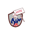 Uncle Sam American Placard Vote Crest Cartoon vector image vector image