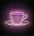 vintage glow signboard with a cup coffee vector image vector image