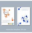 Watercolor template brochure magazine flyer vector image