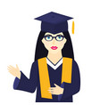 young girl university graduate in graduation cap vector image vector image
