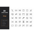 30 chat line icons vector image